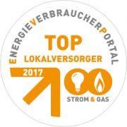 Plakette TOP Lokalversorger Strom 2017