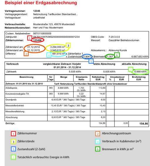 erdgasabrechnung beispiel - Eur Beispiel
